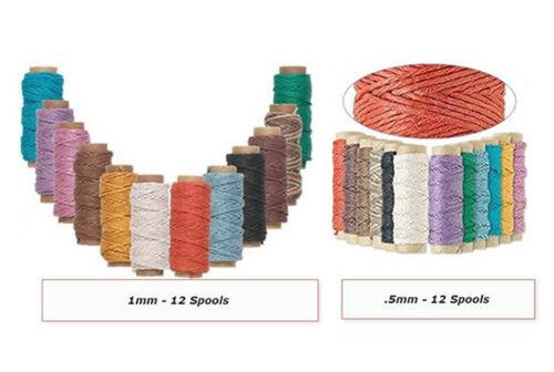 0.5mm 1mm Hemptique Polished Hemp Cord Twine Macrame String 12 Mini Spool Set