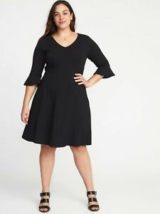 Details about NWT - Womens Old Navy Black V-Neck Flute Sleeve Fit & Flare  Dress - Plus Size 2X
