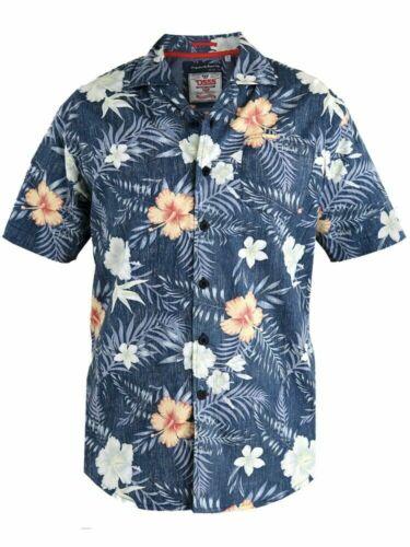 D555 Herren Kurzärmlig Hawaii Umgekehrter Aufdruck Hemd König Groß Übergrößen