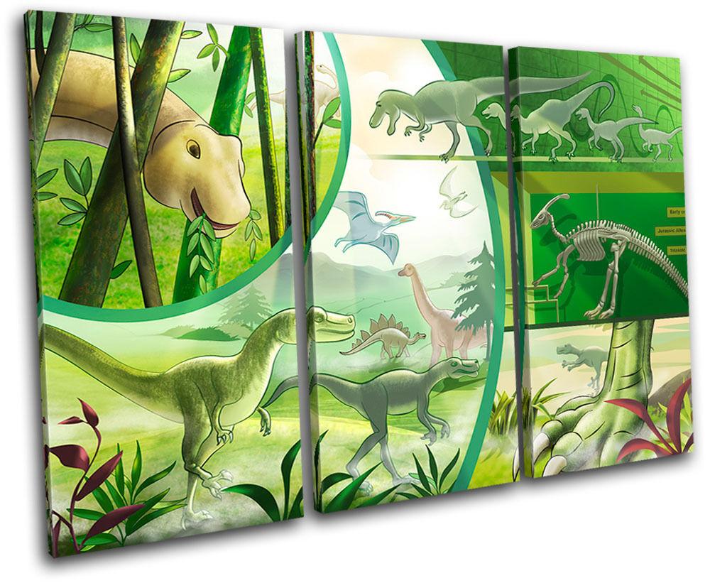 Dinosaurs Boys For Kids Room TREBLE TELA TELA TELA parete arte foto stampa 540f3d