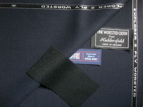 """100/% WOOL WITH """"CREASE RESISTANCE"""" SUITING FABRIC IN """"Very Dark Navy"""" 4.3 m."""