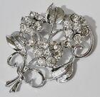 broche bijou vintage bouquet de fleur cristaux diamant couleur argent poli *1743