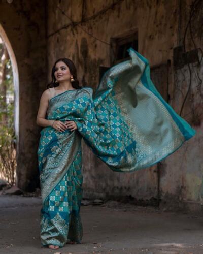 NW Teal Saree Indian Bollywood Wedding Women Designer Banrasi Handloom Silk Sari