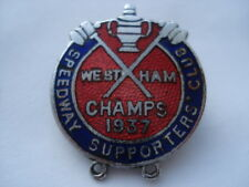 1937 WEST HAM SPEEDWAY SUPPORTERS CLUB CHAMPS 1937 ENAMEL PIN BADGE