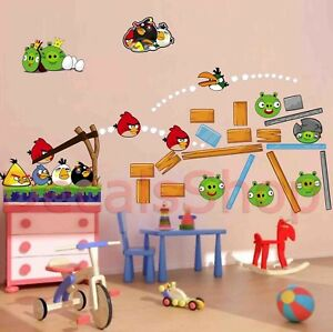 Set-of-Angry-Birds-Lot-Wall-Decor-Vinyl-Sticker-Decal-Removable-Nursery-Art-Free