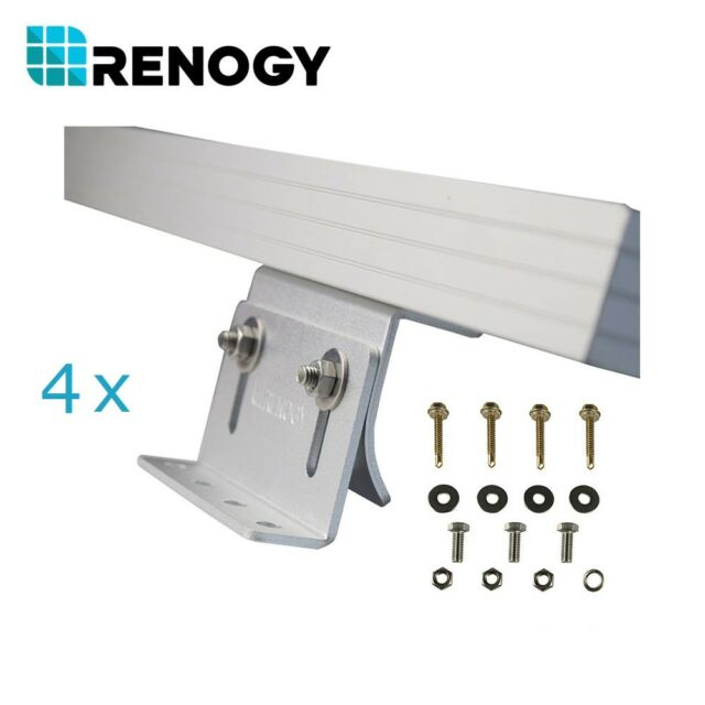 Renogy Solar Panel Mounting Curved Z Brackets Mount Aluminum Roof Wall Set of 4