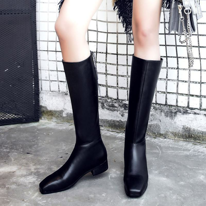 Pretty donna Leather Squarosso Toe Chunky Heels Back Zip Riding Knee High stivali