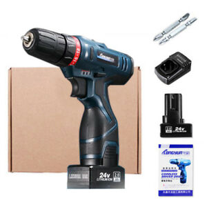 Cordless Electric Impact Driver Hammer Drill Combo Kit 24V Lithium Ion Case BDY