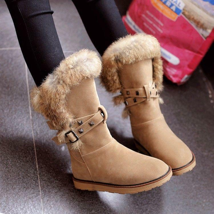 Womens Flat Rivet Mid Calf Boots Fur Trim Pull on Winter Snow Boots shoes 2018