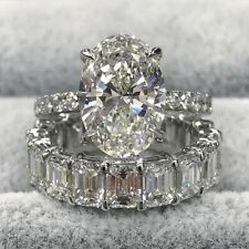 7Ct Diamond Bridal Set Pear Cut Trilogy Ring Eternity Band 14K White Gold Finish