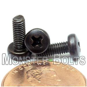 3mm x 0.5 x 8mm - Qty 10 - Phillips Pan Head Machine Screws 4.8 Steel Blk Ox M3