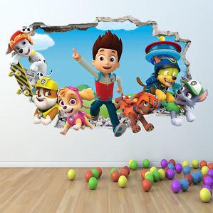 PAW-PATROL-WALL-STICKER-3D-LOOK-BOYS-GIRLS-BEDROOM-WALL-ART-DECAL-Z412