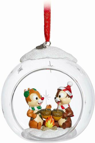 NIB Disney Store Chip /'n Dale Glass Globe Christmas Holiday Sketchbook Ornament