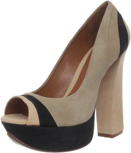 Schutz Eleonora Pump Champagne platform black Peep Toe Suede Natural NEW Safari