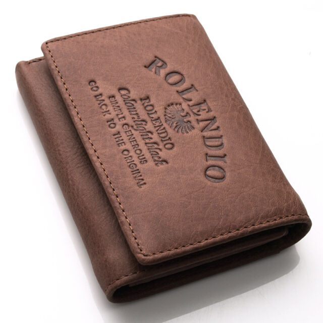 New Vintage Style Mens Brown Leather Trifold Wallet Purse J242