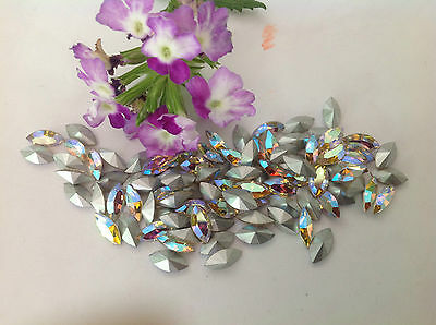 Vintage Czech Navette Crystal AB silver foiled REPAIR CRAFT Size Options