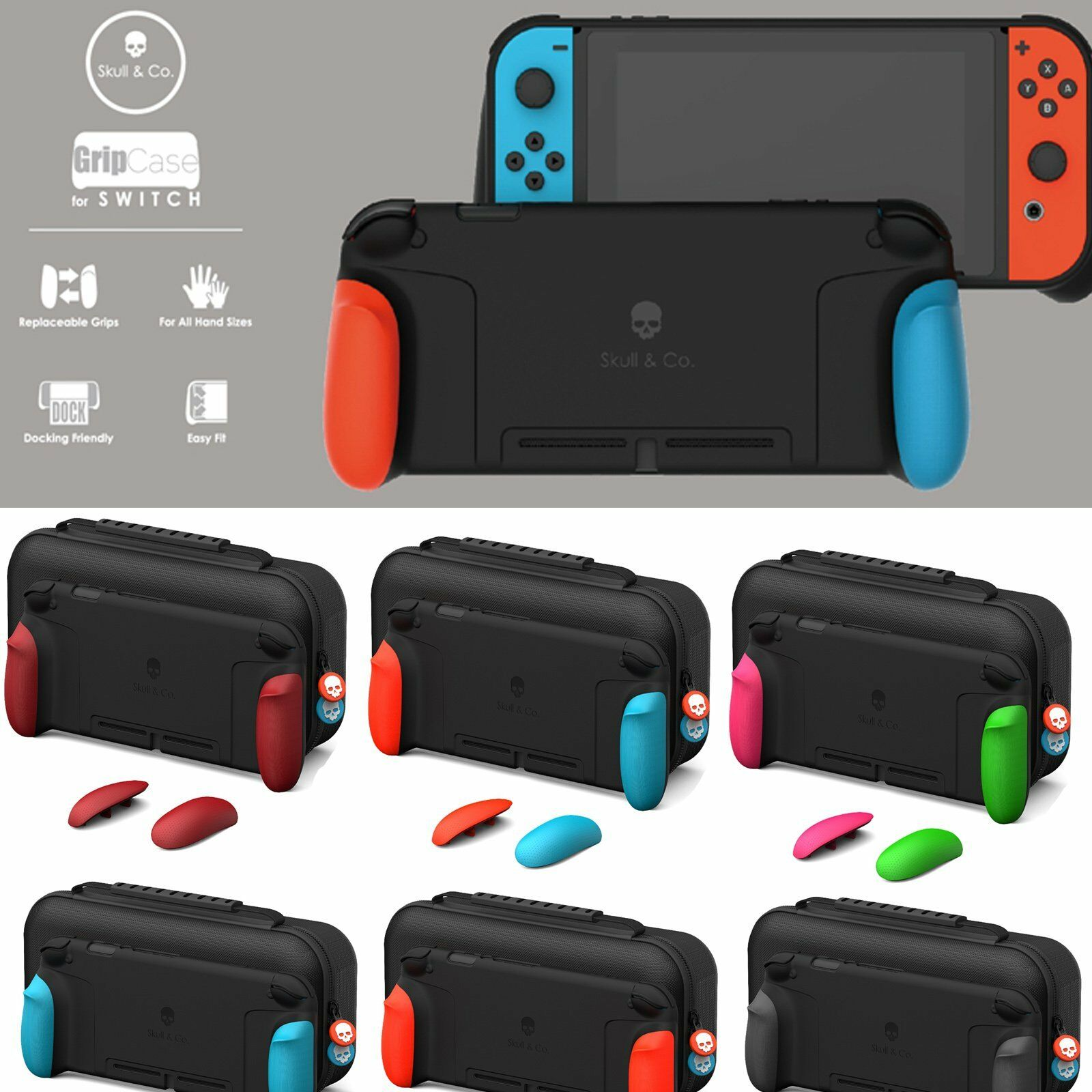 Skull&Co. Ergonomic Griff Case   Body Gehäuse Schutzhülle For NS Switch Console