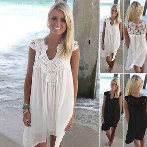 57f69e33ba Women's Summer Beach Wear Bikini Cover Up Lace Chiffon Mini Sun ...