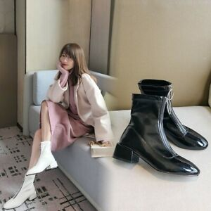 Details about  /Women Square Chunky Mid Heels Fashion Ankle Boots Slip On Party Nightclub Shoes