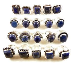 10 Pcs Wholesale Lot Blue Lapis Lazuli 925 Sterling Solid Silver Rings BR-21