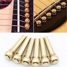 6 x NUOVA alta qualità in metallo in ottone ponte pin corda di chitarra acustica esegue il pegging Sustain