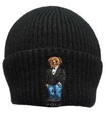 Mens Polo Ralph Lauren Bear Knit Black Beanie Hat Wool Cashmere ... b52326c9865c