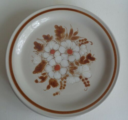 Vintage Retro Mountain Wood Stoneware Dinner Plate Dried Flowers Japan