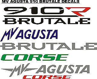 Pair of MV Agusta 910R Brutale stickers decals graphics