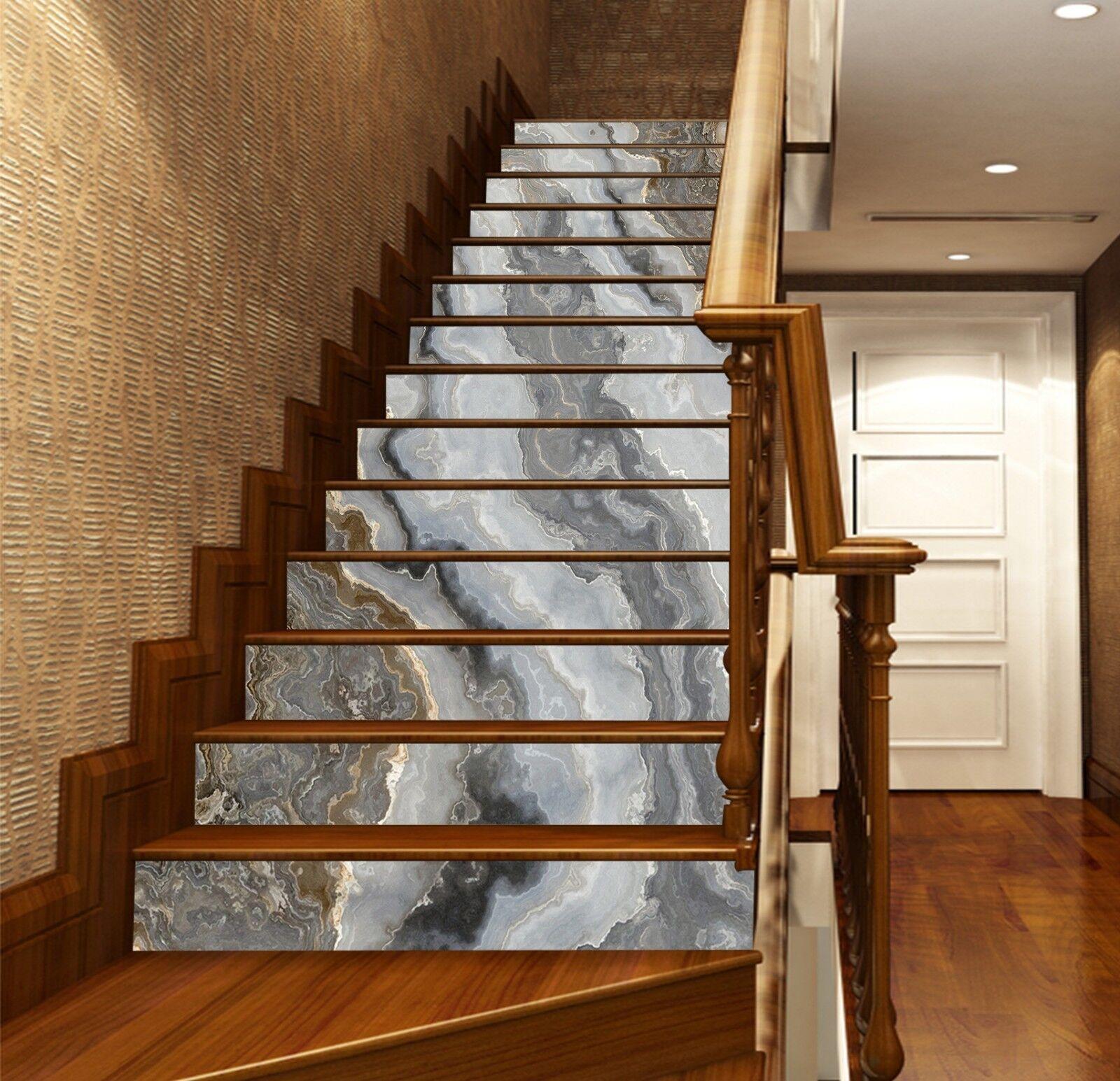 3D Wave Pattern 71 Tile Marble Stair Risers Photo Mural Vinyl Decal WandPapier