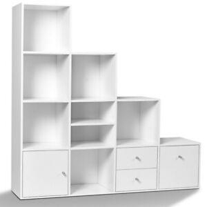 Meuble de rangement en escalier LIAM 4 niveaux bois blanc avec porte et tiroirs