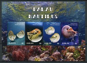 Palau-2018-Gomma-integra-non-linguellato-Palau-NAUTILUS-4v-M-S-CORALLI-molluschi-ANIMALI-MARINI