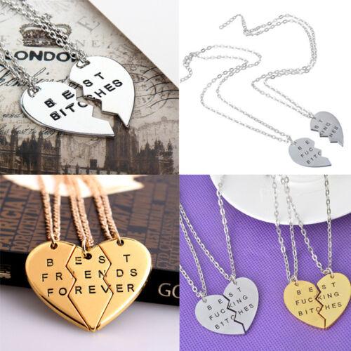 2//3Pcs Best Bitches /& Friends Forever Broken Heart Couple Pendant Necklace Gifts