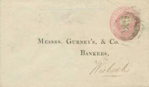 GB-1852-VF-QV-1d-pink-postal-stationerey-env-Size-B-PROBABLY-UNIQUE-EARLIEST-STO