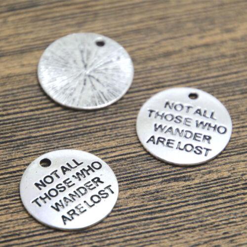 15 un Charms de plata no se pierden todos los que vagan Colgantes 20mm