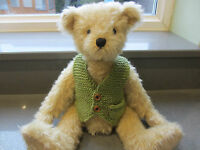 Teddy Clothes - Hand Knitted Waistcoat With Pocket Watch To Fit 11-13 Bear