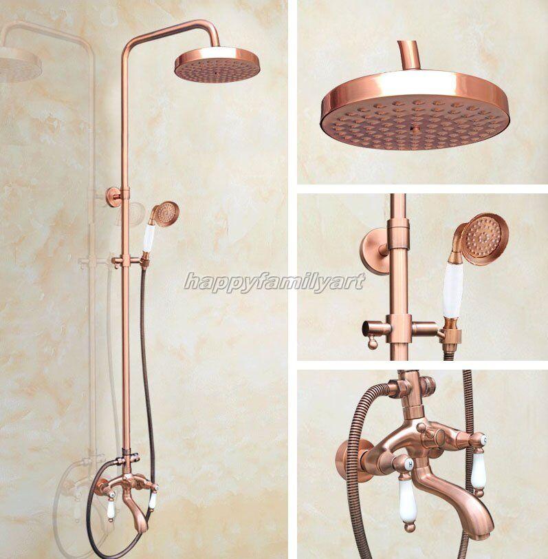 Antique Rouge Cuivre Laiton Salle de bains douche de pluie Robinet Set baignoire mélangeur robinets yrg565