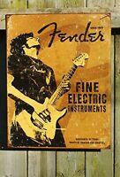 Fender Rock On Guitar Fine Electric Instruments Distressed Retro Vintage Tin on sale
