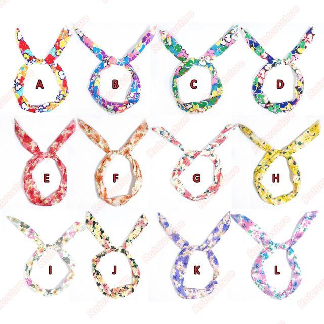 Floral Wire Headscarf - Bunny Ears Summer Hair Head Scarf Band Tie Wrap - New