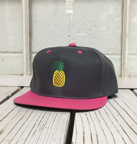 Hip PINEAPPLE Embroidered Flat Bill Snapback Cap Hat Many Colors