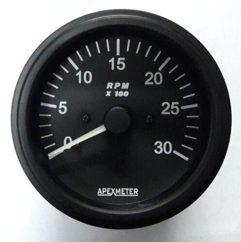 Tachometer 0-3000 RPM Alternator Signal Gauge Black Bezel 12V