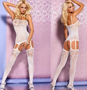 daaacb0e08 Women s Sexy All-in-One Fine Mesh   Lace Patterned Opaque Suspender ...