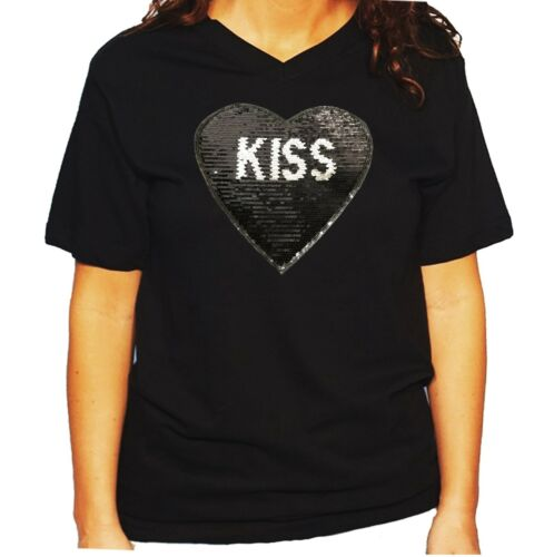 "Women/'s Unisex Rhinestone T-shirt /"" Kiss /& Lips 2 Sided Heart in Sequins /"""
