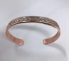Native American Sterling Silver Navajo Silver Over Copper Design Cuff Bracelet