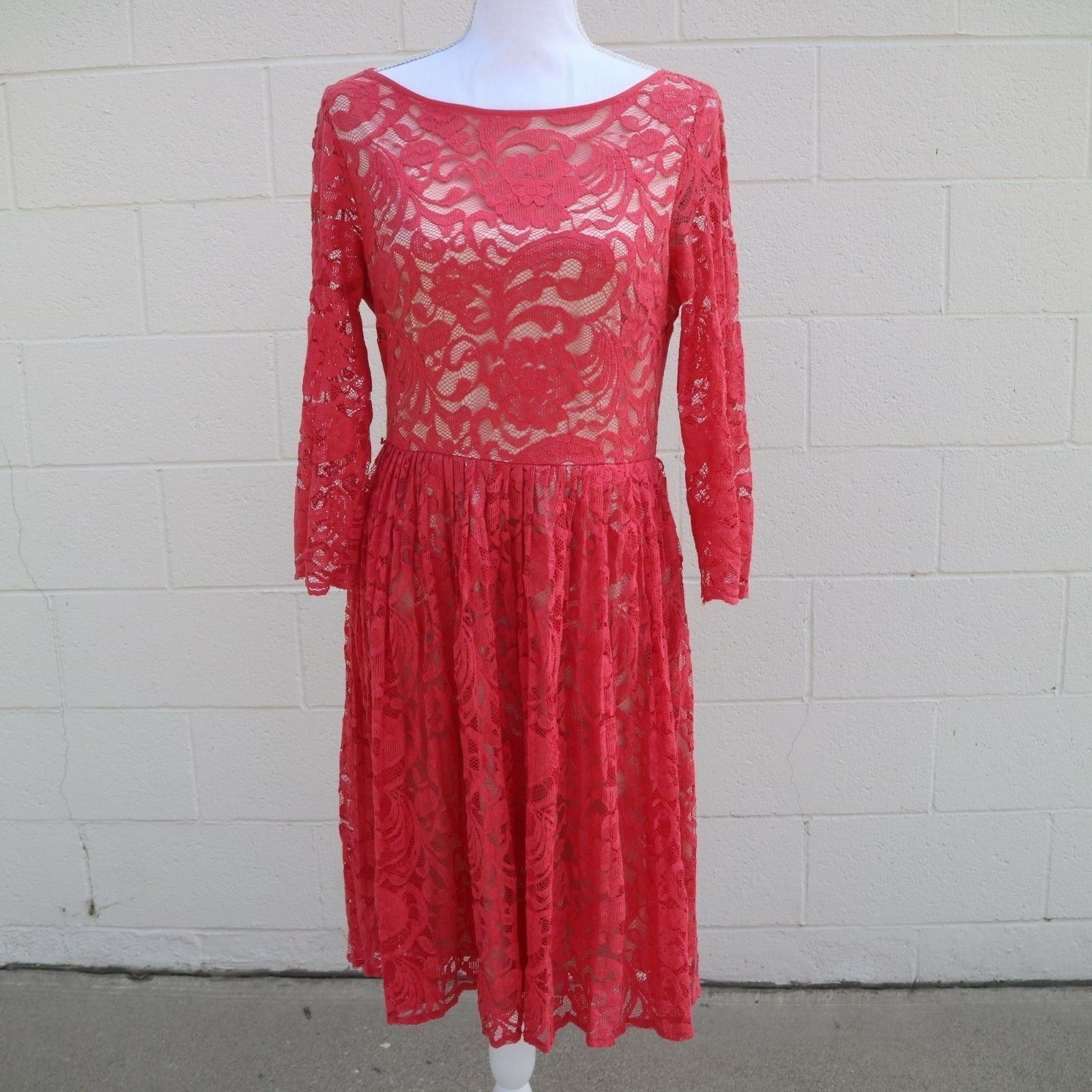 Eliza J damen Salmon Coral Rosa Lace Fit Flare Dress with Sleeves Größe 10