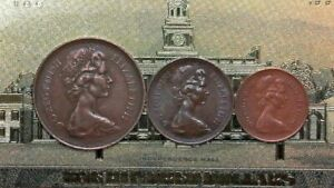 1971-UK-Decimalization-VERY-RARE-Penny-Set-1-2-New-penny-1-New-Penny-2-New-Pence