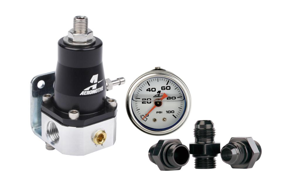 Aeromotive 13130 EFI Fuel Bypass Regulator 1000 HP Combo Gauge /& Fittings