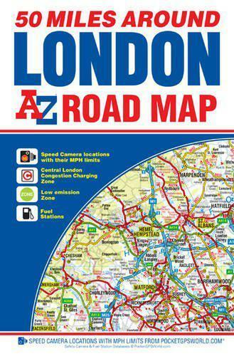 1 of 1 - A-Z 50 Miles around London Road Map by Geographers A-Z | Map Book | 978178257108