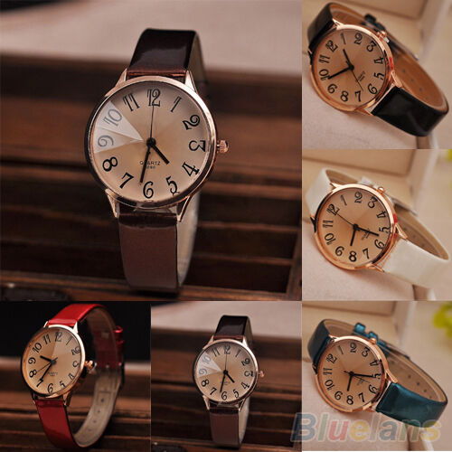 Women New Delicate Faux Leather Strap Big Digit Analog Quartz Dress Wrist Watch