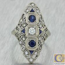 1930s Antique Art Deco 18k Solid White Gold .74ctw Diamond Sapphire Ring