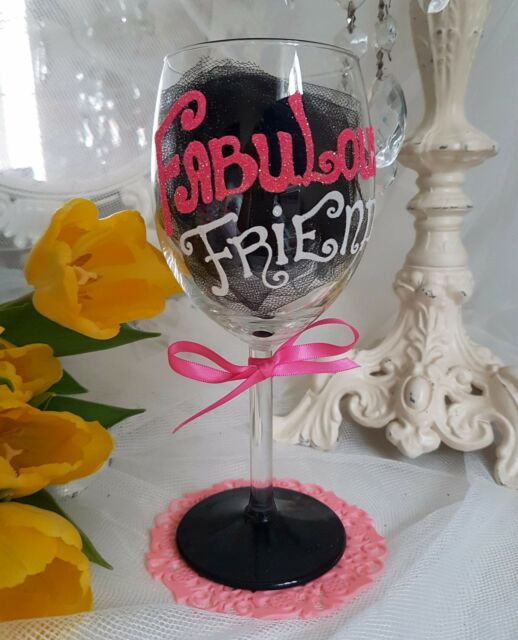 HAND PAINTED PERSONALISED CHAMPAGNE OR WINE GLASS BIRTHDAY friend best glitter